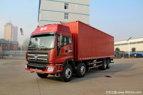 福田 瑞沃重卡 300马力 8X4 9.5米厢式载货车