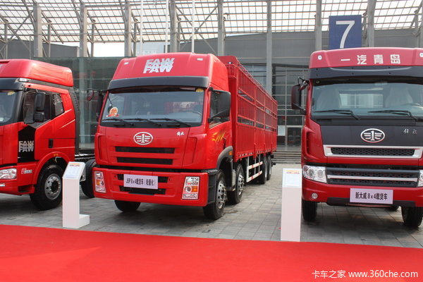 解放 奥威(J5P)重卡 280马力 8X4 仓栅载货车(轻量化)(CA5312CLXYP21K2L2T4E)